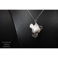 14K platinum Fresh water pearl pendant